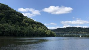 landscape photograph of the Allegheny River from the boat docks at Freeport Riverside Park in Freeport, Pennsylvania